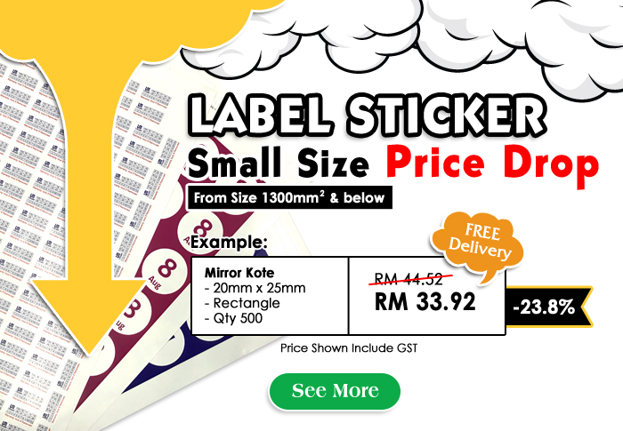 Label Sticker - Small Size Price Drop Permanently
