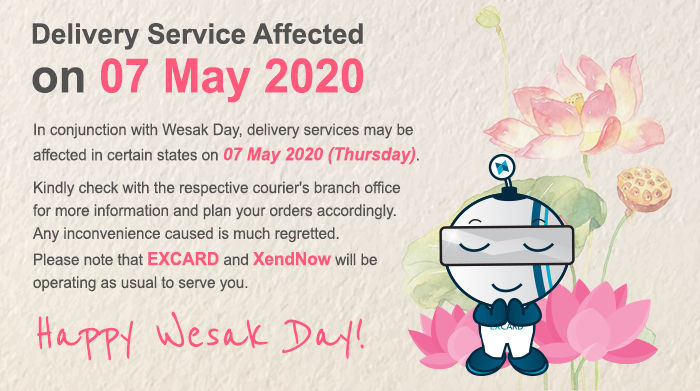 Delivery Service Affected on Wesak Day