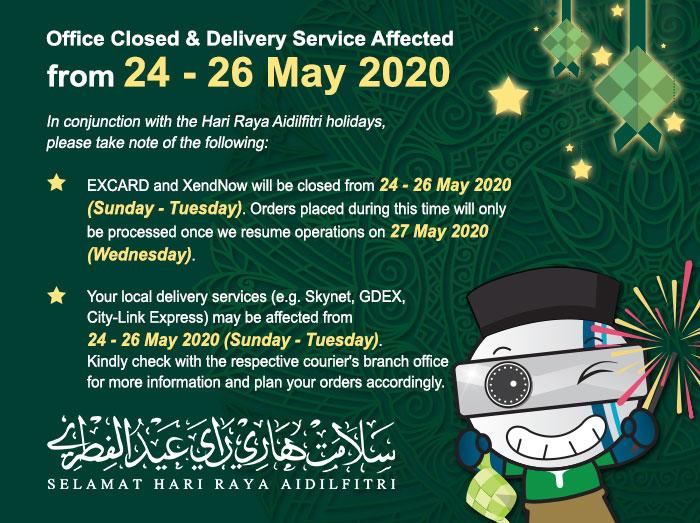 Office Closed & No Delivery Service for Hari Raya Aidilfitri