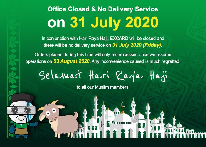 Office Closed & No Delivery Service on Hari Raya Haji